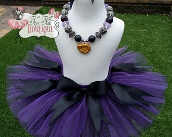 URSULA SEA WITCH- Purple, Black, Little Mermaid Sea Witch baby/child Tutu wit hairbow:  Newborn-5T