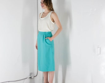 ON SALE Teal Straight Skirt/ Retro Bold Pocket Skirt / Vintage Midi Skirt