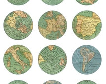 VINTAGE MAP Craft Circles  -Instant Download Digital Printable-  -Bottlecaps Collage Sheet - 4 sizes - DiY Print as many as you like