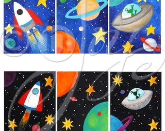 CUSTOM Space Themed Wall Art for Kids, Set of 3 8x10 inch acrylic on canvas paintings for children
