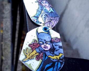 Batgirl Then and Now - Barbara Gordon as Batgirl & Oracle - hand-painted comic book earrings