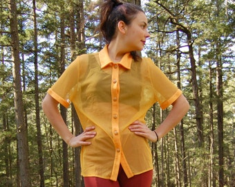 Vintage SHEER BLOUSE 90s SHEER Bright Yellow Orange Gold with Enamel Buttons