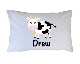 Personalized Cow Pillow Case Travel Toddler or Standard Size