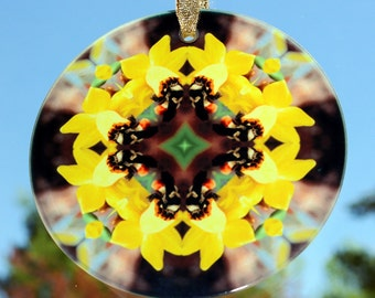 Suncatcher Honeybee Daffodil Boho Chic Mandala New Age Sacred Geometry Hippie Kaleidoscope Unique Gift For Her Mod Hippie Gypsy Busy Bee