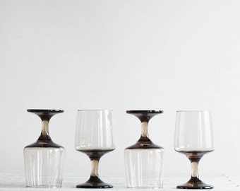 1970s Wine Glass Set | Smoky Brown Wine Glasses | Set of Four Vintage Barware