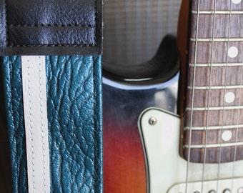 Vintage Blue Racing Stripe Guitar Strap- 1970's Car Vinyl