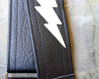 Lightning Bolt Guitar Strap - Black with White Bolt- Built to Shred