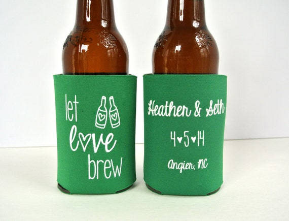 Kool A Brew Can Coolers ~ Personalized let love brew wedding can coolers bridal