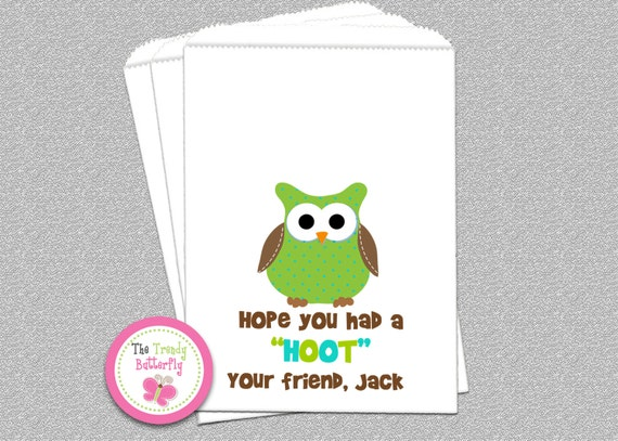 Owl Birthday Party, Candy Bags, Goody Bags, Party Favor Bag