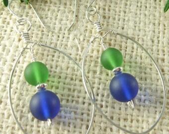 On SALE!!   Blue & Green Glass Beaded Earrings
