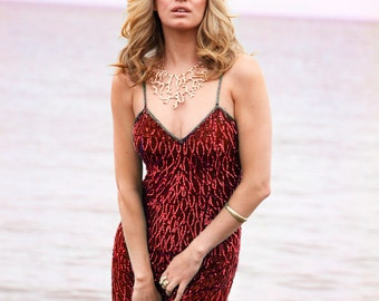 Ruby, Vintage, Red Beaded and Sequin Maxi Dress, from Paris