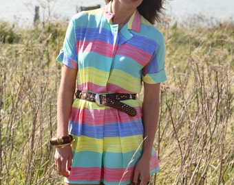 Rainbow, Vintage, Pastel Stripe Shirt Mini Dress