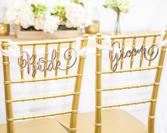 "Chair Signs for Wedding - ""Bride/Groom"" Wedding Chair Sign for Reception, Chiavari Chair Decor (Item - CHG100)"