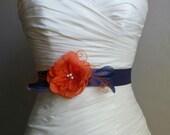 Navy Blue Bridal Sash, Burnt Orange Bridal Belt, Bridesmaid Sash, Bridal Accessories, Handmade Fabric Flower Navy Blue Sash Josie