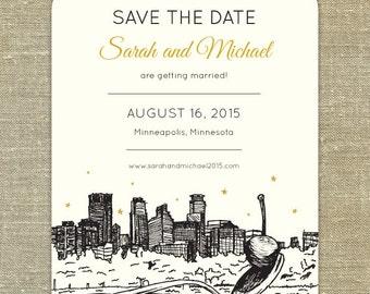Spoonbridge & cherry Minneapolis skyline Save the Date; SAMPLE ONLY