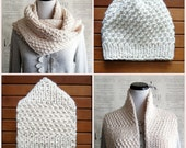 Hand Knit Chunky Infinity Scarf with matching knit beanie hat, Ivory Cream Aran Fisherman, Ready to Ship