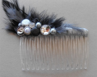 Gray Hair Comb, Black Gray Feathers 1920 Style Combs