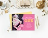 First Birthday Photo Invitation - Printable JPEG - 5x7 Birthday Invitation - Babys First Birthday - Pink Yellow Picture Announcement