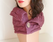 Cable Cowl with Coco Buttons - hand knit cabled neck scarf in purple melange colour with natural coco buttons