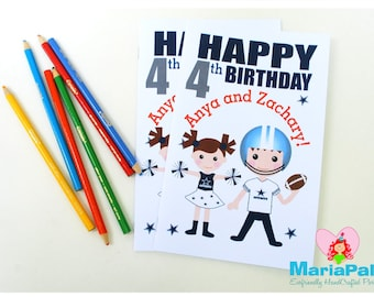 6 Football Coloring Books, Football Team Party Personalized Coloring Books Party Favors  A1016