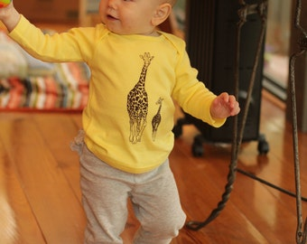 Giraffe Long Sleeve Baby's Yellow Cotton Tshirt - made in America