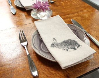 Cloth Napkins - Bunny Rabbit hand screen printed set of 2 dinner napkins - ecofriendly - reusable napkins for your table setting