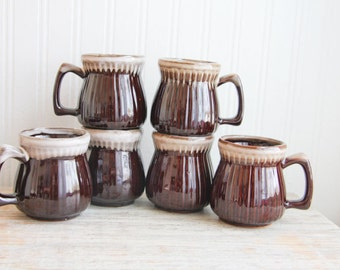 Brown Vintage Stoneware Coffee Cups, 6 Pottery Mugs, Rustic Coffee Mugs, Farmhouse Breakfast Table, Drip Glaze Mugs,  Eco Wedding Gift