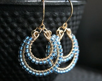 Blue seed bead earrings, beaded, dangle, drop earrings, capri blue, Toho, 14k gold filled, wire wrapped, Mimi Michele Jewelry