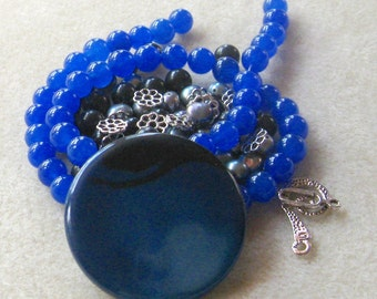 Agate Coin Pendant, Jade Beads, Freshwater Pearls, Jewelry Making Beads, DIY Jewelry Kits, Craft Supplies, Blue Beads, Bead Kit, Bead Kit