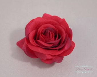 Red Rose Hair Clip / Brooch / Corsage, Petite Real Touch Rose Fascinator