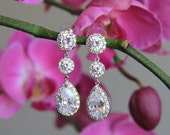 Wedding jewelry, bridal jewelry, wedding earrings, bridal earrings, Cubic zironia earrings, cz earrings with round and tear drop stones