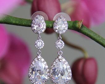 Tear drop 3 stone bridal earrings wedding earrings tear drop/pear cubic zirconia earrings, cz earrings, wedding jewelry bridal Jewelry
