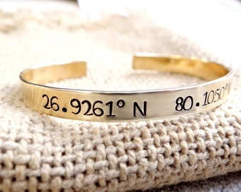 Latitude and Longitude Gold Cuff Bracelet. Personalized GPS Coordinates, Customized With Your Location, Gold Bangle, Location Cuff.