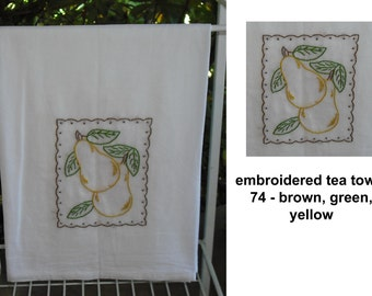 Hand Embroidered Tea Towel Flour Sack Cotton Fruit Food Nature Vintage Retro Home Decor Kitchen Wedding Gift