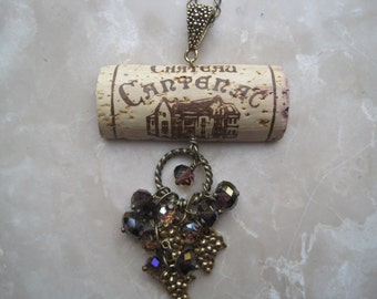 OOAK Wine Cork Pendant Accented with Purple Crystals, Grape Leaf Clusters and Antique Bronze and Gold - Repurposed Wine Cork