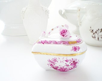 Herend Porcelain Trinket Box Heart Bonbon Box Raspberry Pink Hungarian