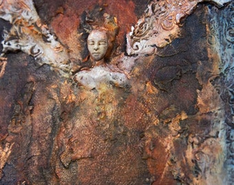 COMMISSION: Earth Angel. Wall Sculpture by Fae Factory Artist Dr Franky Dolan (clay relief & canvas painting mixed media art) {SEE VIDEO}