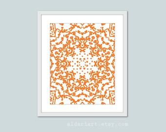 Abstract Mandala Digital Art Print Tangerine Orange Modern Wall Art Abstract Star Flower