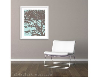 Tree Art Print - Blue and Brown - 16x20 Wall Art  - Nature Tree Poster - Modern Home Decor