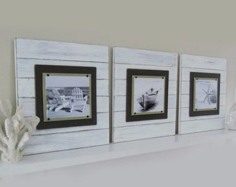 Set of 3 X-tra Large White Distressed 21x21 Plank Frame for 8x10