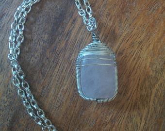 Rose Quartz Silver Plate Herringbone Wire Wrap Pendant (with chain)