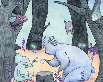Stories 'til Dawn - A4 Print - dark forest tea party elephant mouse antler bear fish creature eerie night woodland starlight blue whimsical