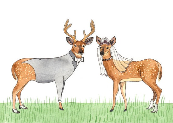 Deerly Beloved - card - wedding anniversary engagement love bride groom deer dearly woodland elk stag bambi romance romantic special day