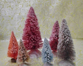 Hand Dyed, Glitter Dusted, Snow Covered Bottle Brush Trees Set of 6 MANY LISTED Cottage Chic Christmas Village Decoration Sisal Tree