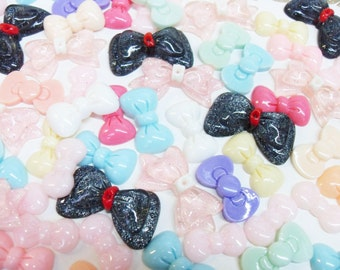 20x Mixture Resin Bow Cabochons in pretty pastel colours