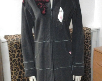 Embroidered Grey Jacket Long Patched Silkscreened Hobo Chic Erotic Jersey Jacket Coat Duster Long