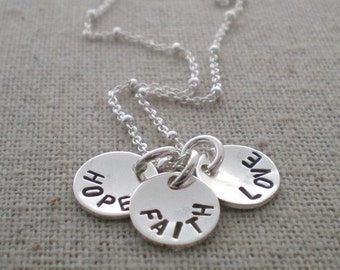 hope faith love    tiny token stamped discs   sterling silver name tags   name pendants   custom names for mom   inspirational gift