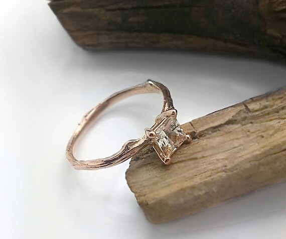 sapphire twig engagement ring princess cut sapphire