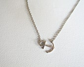 Silver anchor necklace - sideways anchor necklace