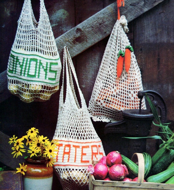 Crochet Grocery Bag Pattern : Vintage Crochet Pattern Mesh Shopping Tote Purse Reusable Produce Bags ...